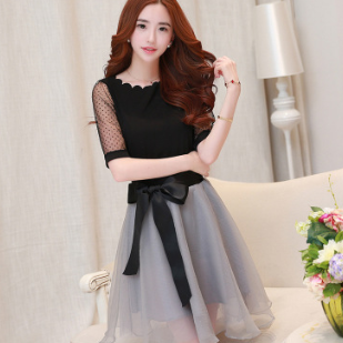 MS81864N 2016 summer women's short sleeve organza vintage dress clothing sets