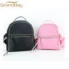 trendy rivet pu saffiano leather girl travel bag women backpack with top handle