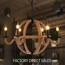 American country lighting lamp Nordic simple six head hemp rope vintage pendant light