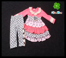 Qian Han wholesale plus size clothing for girls two-piece suits baby girl boutique clothing sets childrens boutique clothing