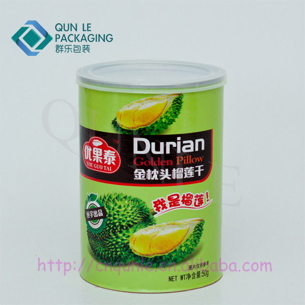 Hot Sale Custom Printed Empty Round Cardboard Fruit Chips Food paper Cans