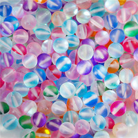 Colorful Round Frosted Glass Imitation Glitter Polaris Beads