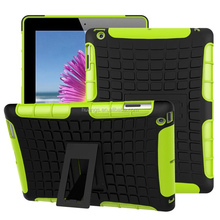 2015 Original 2 In 1 Pattern Silicone and PC Rugged Hybrid hybird cover case for ipad 4 / 3 / 2 made in china