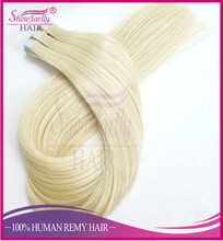 Best Selling Russian Human Hair Extension , Double Sided Sticker Hair Extensions, Double Drawn Tape in Remy Hair Extensions