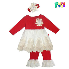 Wholesale kids girls boutique long sleeve lace trim flower smocked dress and red leggings clothes outfits for christmas holiday
