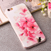 Luxury Floral Painted 3D Relief Clear Transparents For Apple iPhone 6 4.7 Case For Flower Cell Phone Cover
