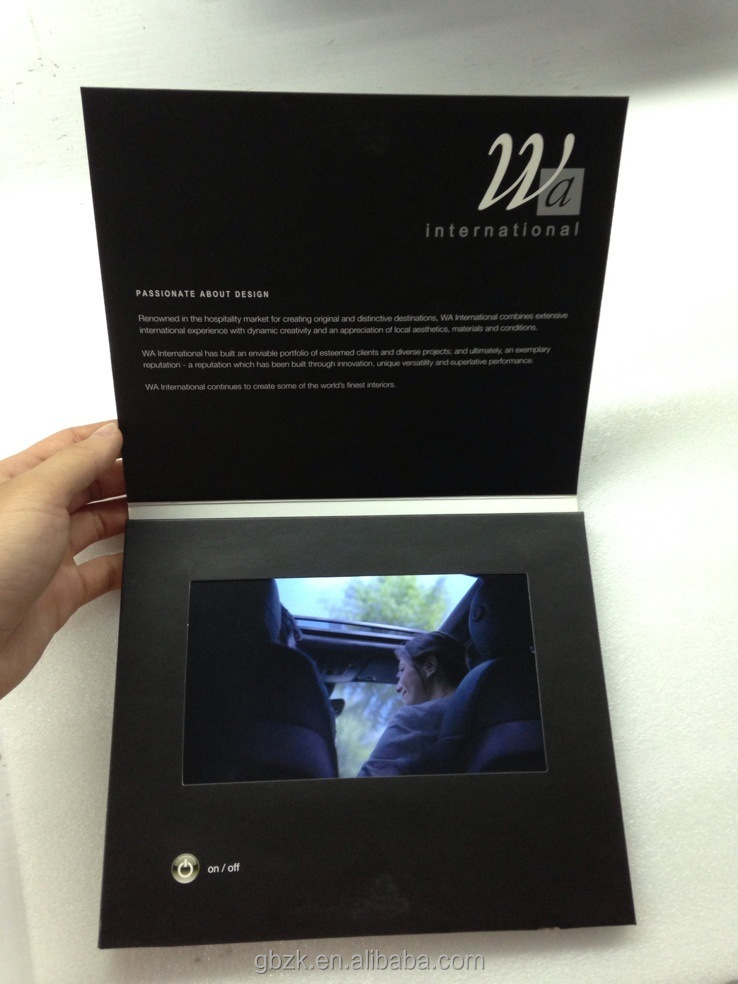 2014 hot creative idea promotional product beautiful custom printing video brochure video greeting card