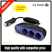 triple car cigarette lighter socket with usb port and blue light on the surface