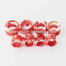 hot wholesale ear plug piercing body jewelry acrylic red solid color marble flesh tunnel