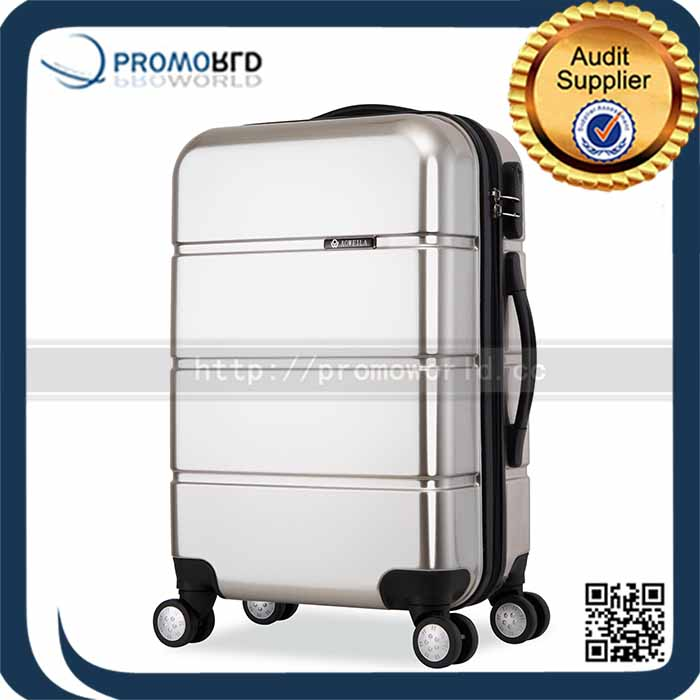 high quality promotion gifts silver ABS+PC travel luggage