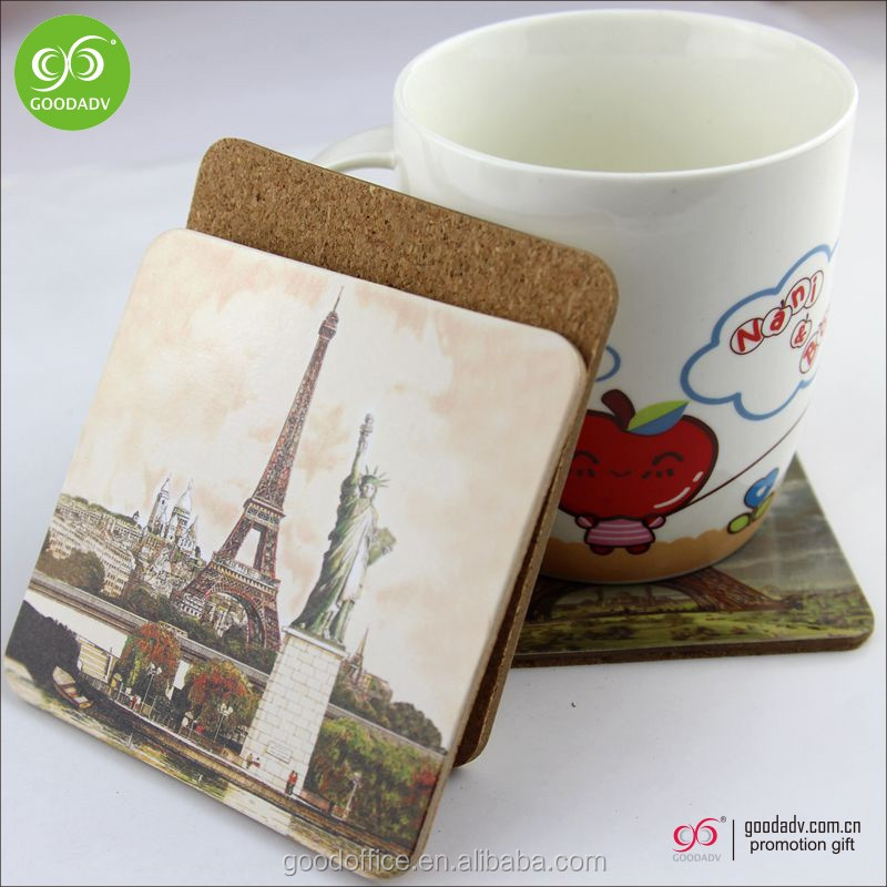 Wholesale Promotional Cardboard Cork Table mat / Wooden Coasters