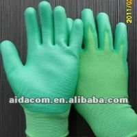green PU Nylon gloves/good porous PU nylon gloves