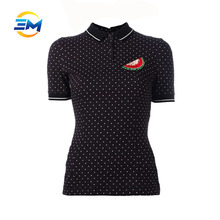 Women's polo shirts with full white striped spot and wotermelon pattern