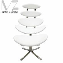 modern stainless steel base corona lounge chair and ottoman