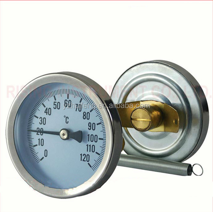 Industrial 0-120 Celsius Dial Bimetal Pipe Spring Thermometer