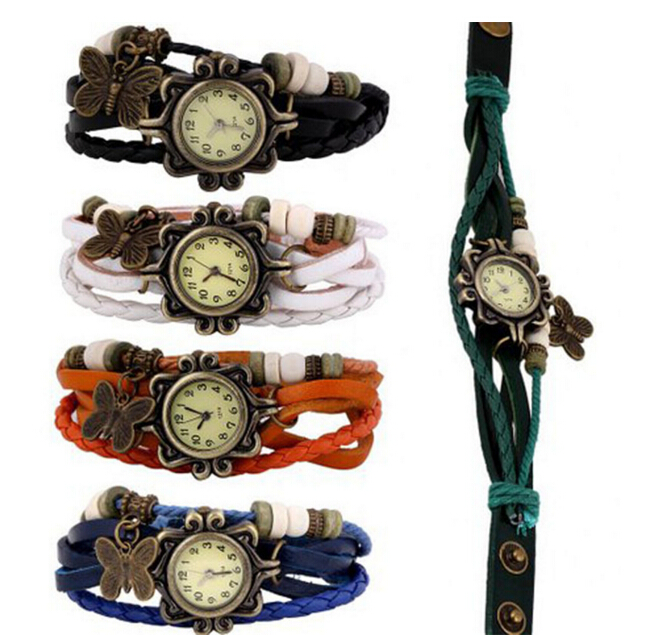 In Stock High Quality Women Leather Vintage Watches butterfly Eiffel Tower Pendant Bracelet Wrist watches