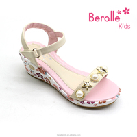 2018 Elegant fashion high heel sandals kids girls women shoes with platform white color