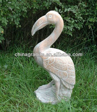 Natural stone carved marble used crane bird statue for sale
