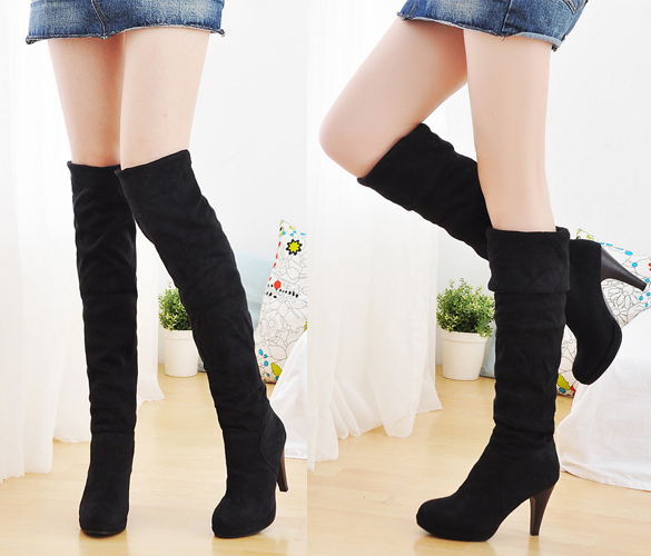 Sexy Women Over Knee Faux Suede Stretch Thigh High Slouchy high Heel Boots Shoe 3372 #