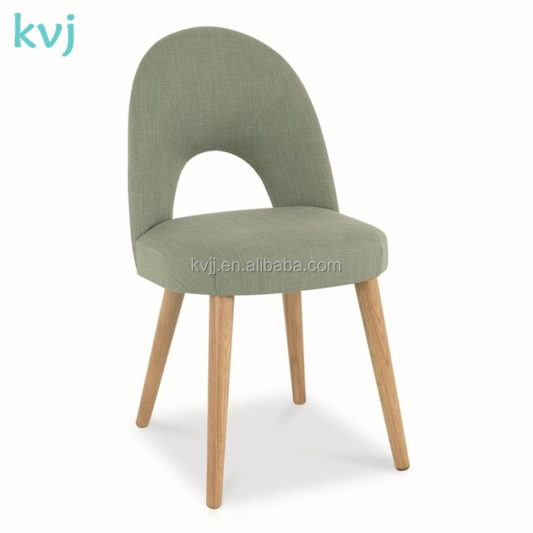 KVJ-4076 Oak wood fabric upholstered dining room chair