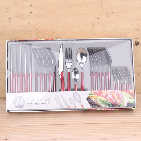 Colored handle reusable plastic flatware