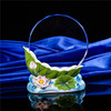 Hot Sale Beautiful Lotus Flower Design Ceramic Round Shape Crystal Trophy