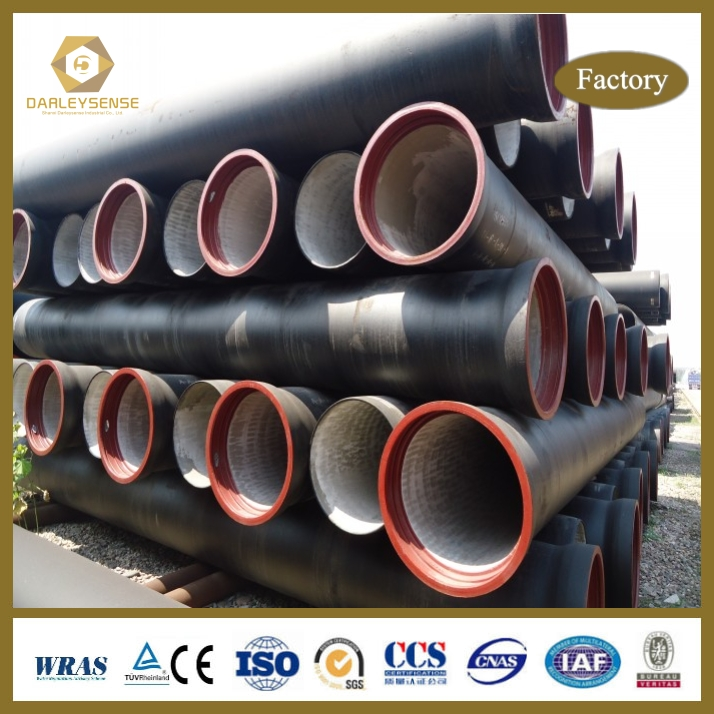 Ductile Iron Cast Pipe with Bitumen Coating and cement lining for Best Price and Quality