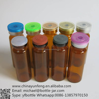 Empty 15ml Amber Glass Vial with Flip off Cap ,1/2oz Brown Glass Injection bottle with Flip off Cap