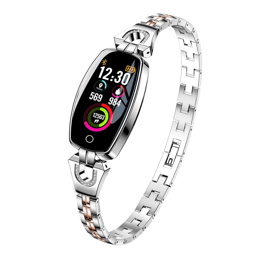 ziny alloy Fashion Wear Stainless Steel Strap Jewel Watch lady women Smartwatch Wristband
