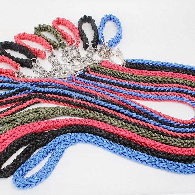 High Quality Nylon P Traction Rope Dog Training Leashes Leather Buckle+Metal Ring 100Pcs/Lot