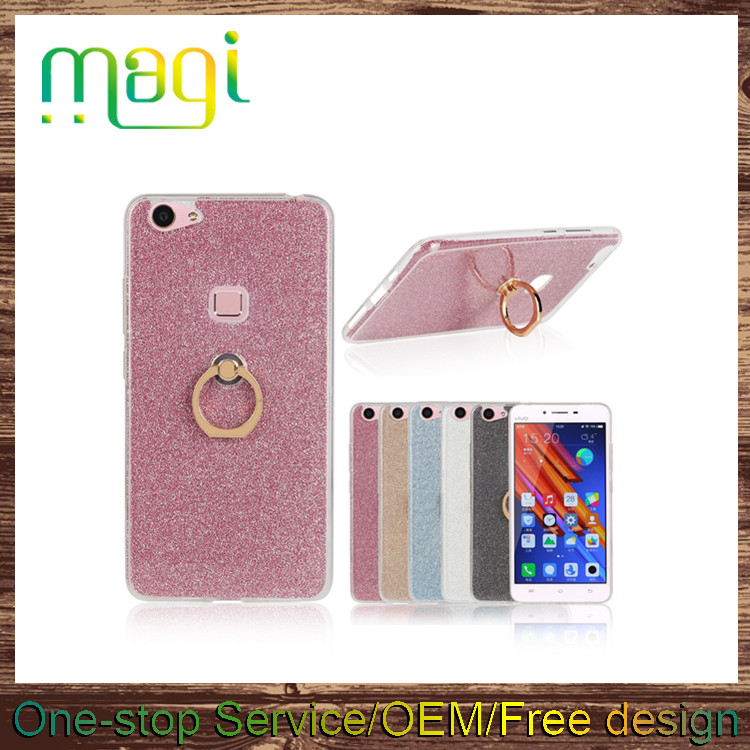 Bling Bling Ring Stand Phone Case Soft TPU Back Cover Case for Vivo X6 plus
