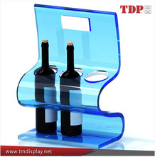 home decoration lucite acrylic wine bottle display stand with handle