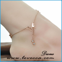 New Design Rose Gold Plated Stainless Steel Hotwife Butterfly Anklet with Crystal Drop Tassel