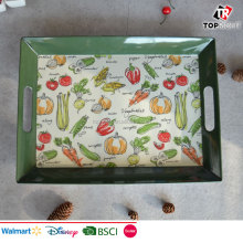 "16"" big vegetables design melamine serving trays"