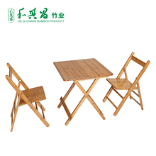 Hot sale space saving bamboo dining table and chair