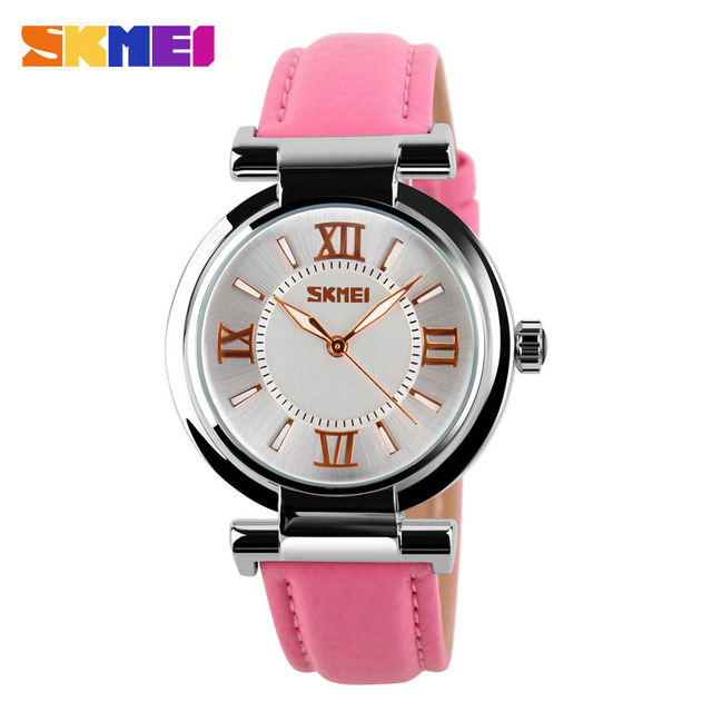 SKMEI Brand Women Dress Watches 3ATM Waterproof Leather Strap Fashion Quartz Watch Student Wristwatches Ladies Hours 2016 New