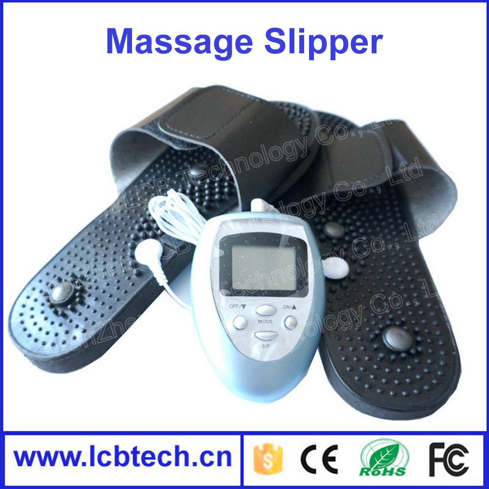 Electronic vibrating blood circulation massage slippers magnetic therapy shoes physiotherapy with pulse massager and 2 pads