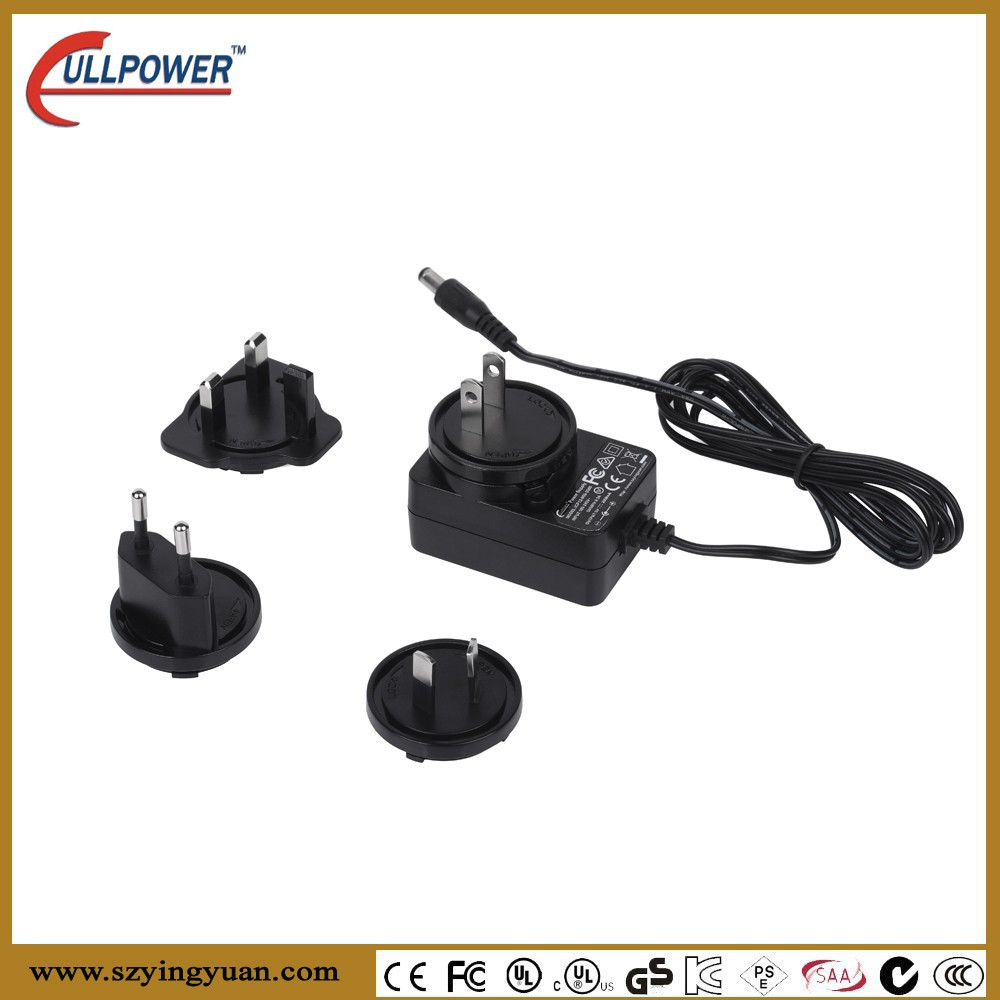 12W Exchangeable plugs Power Adapters With AU EU US UK plug for digital product