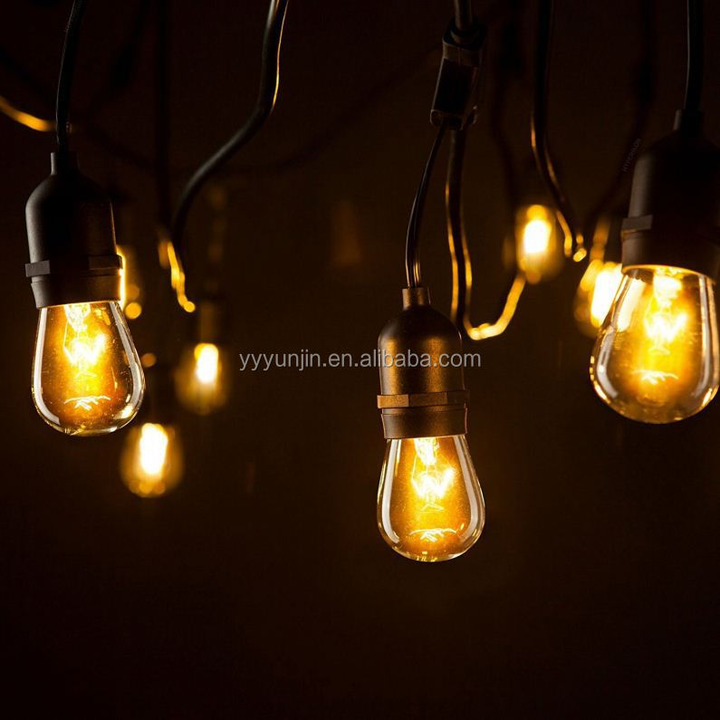 Wholesale UL listed 30ft led waterproof commercial string light with 15 e27 hanged sockets and edison bulbs for patio