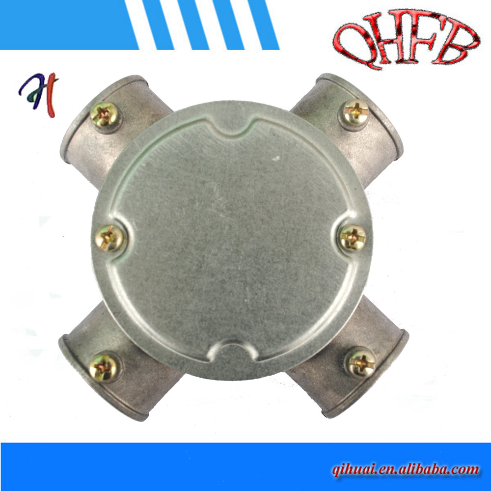 Small round aluminum electrical junction box metal