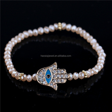 faceted pearl crystal rhinestone cheap evil eye hand hamsa bracelet