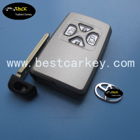 Factory price 4 button smart card cover with emergency key for toyota 4 button shell