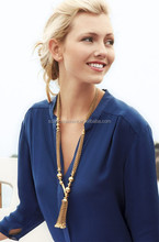 Latest Gold Bulk Long Chain Sweater Necklace With Tassel &Beaded Pendant Round Ball And Hook Necklace For Lady