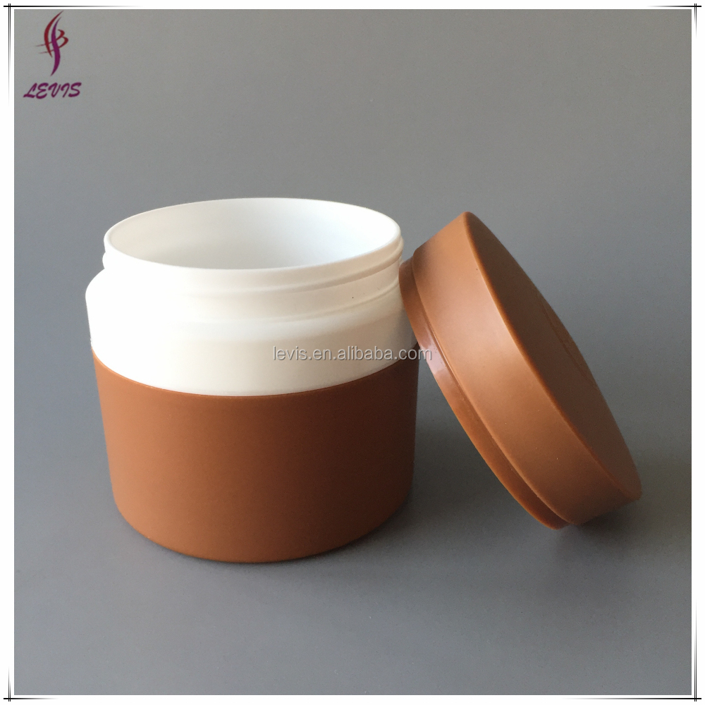Cosmetic round double wall PP 5oz plastic container with unique lid