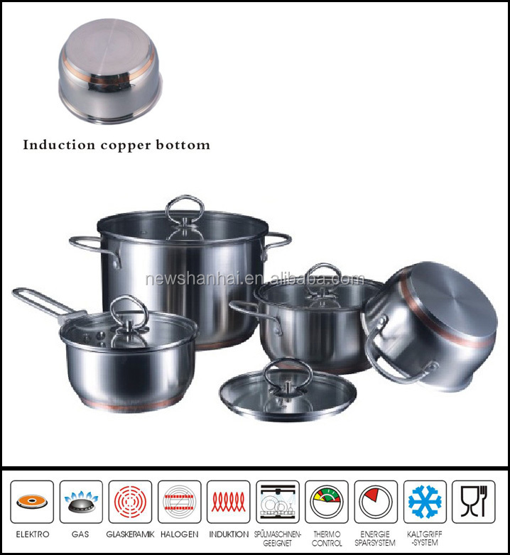 Stainless steel waterless copper bottom cookware 8Pcs Sc861