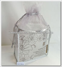 PVC drawstring bag for cosmetic sample with organza top
