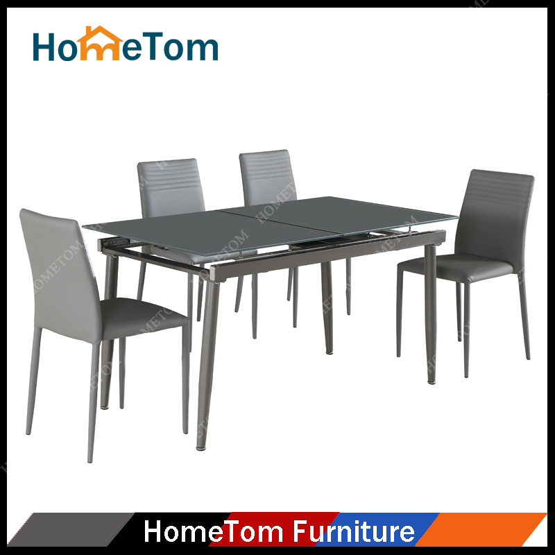High Quality Tempered Glass Top With Power Coated Finish Metal Leg Extended D