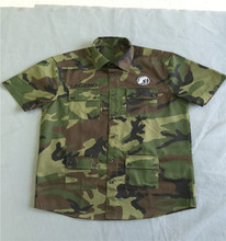 mens short sleeve military style embroidery camouflage casual shirt