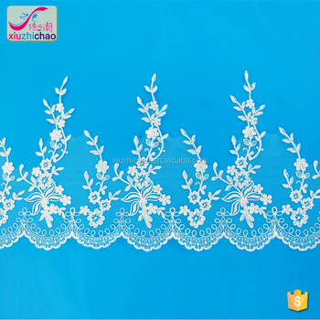 X0142 fancy designs embroidery mesh turkey border lace with cord