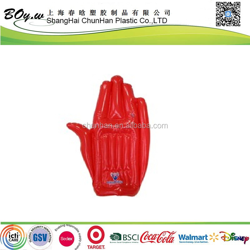 CN manufacturer testing hot sales customized logo air gloves red promotion pvc inflatable plam hand